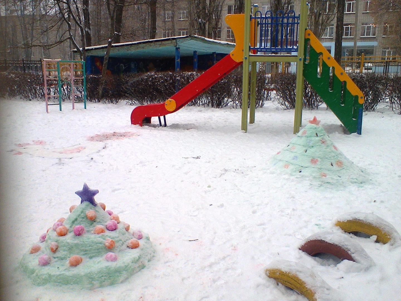 Оформление детских зимних участков в детском саду своими руками фото